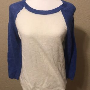 The Limited white and blue sweater